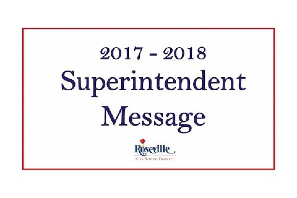 Superintendent Message for 2017 – 2018