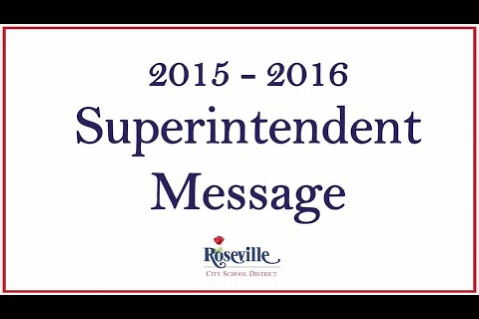 Superintendent Message for 2015 – 2016